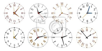 Naklejka Modern clock faces. Minimalist watch, round clocks and watch face. Ticking clock timer measurement symbols, work time deadline metaphor. Isolated vector icons set