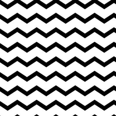 Naklejka Modern geometric seamless pattern zig zag. Black waves isolated on white background. Classic striped retro background. Vector illustration