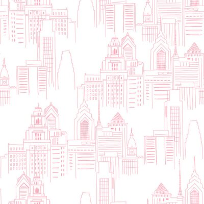 Naklejka Modern New York city scape in pink colour. Girlish Superhero themed neutral seamless pattern. Vector doodle graphics. Perfect for little girl design like t-shirt textile fabric print birtday party