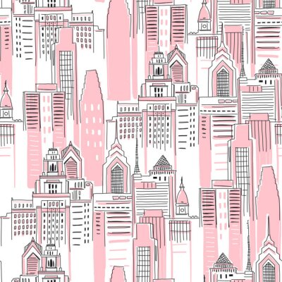 Naklejka Modern New York city scape in pink colour. Girlish Superhero themed seamless pattern. Vector doodle graphics. Perfect for little girl design like t-shirt textile fabric print birtday party wrapping