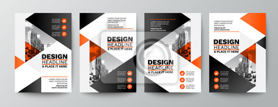 Naklejka modern orange and black design template for poster flyer brochure cover. Graphic design layout with triangle graphic elements and space for photo background