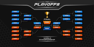 Naklejka modern sport game tournament championship contest bracket board vector with gold champion trophy prize icon illustration background in tech theme style layout.