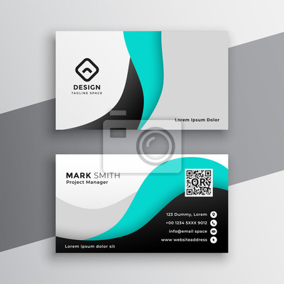 modern wavy turquoise business card design