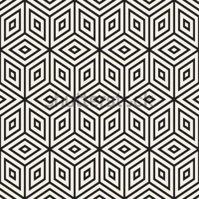 Naklejka Modna monochromatyczna krata liniowa. Streszczenie tło geometryczne. Wektor bez szwu czarno-biały wzór.
