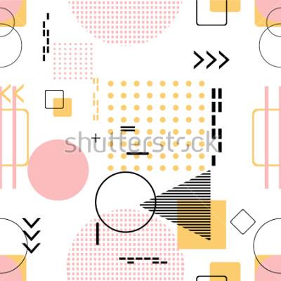 Naklejka Modny bezszwowy, Memphis styl z geometrycznym wzorem, wektorowa ilustracja z geometrycznymi postaciami. Zaprojektuj tła na zaproszenie, broszurę i szablon promocji.