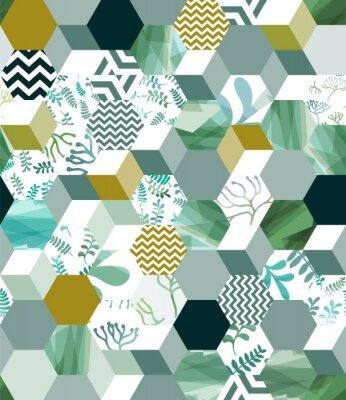 Naklejka Modny bezszwowy tło wzór z sześciokąt płytkami w zieleni, eps10