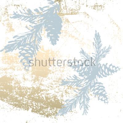 Naklejka Modny elegancki pastelowe kolorowe tło z kształtami złotej folii i malowane sylwetki choinkowe. Abstract niezwykłe tekstury tapety, karty z pozdrowieniami, nagłówki, elementy dekoracji. Wektor