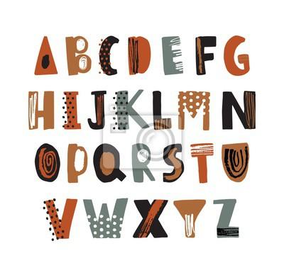 Modny Łacińskiej czcionki lub ozdobny alfabet angielski ręcznie rysowane na białym tle. Twórczy teksturowane litery ułożone w kolejności alfabetycznej. Nowoczesny krój pisma z kropkami i literkami. Il