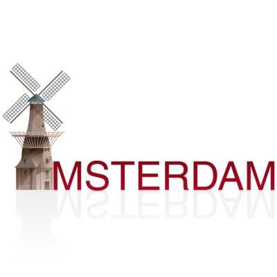 Naklejka MOLEN DE GOOYER, Amsterdam. Wektory europejskich miast monumentals.