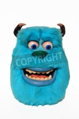 Naklejka Monchique, Faro - Portugal, Circa July 2013. Studio image of a Sulley figure with a isolated white background. This figure of Sulley from Monsters inc, incorporated was used to launch the movie Monste