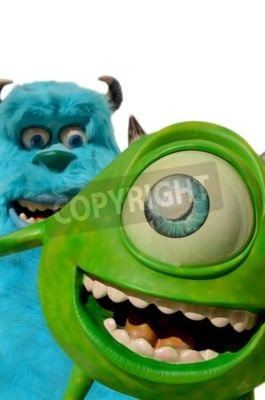 Naklejka Monchique, Faro - Portugal, Circa July 2013. Studio image of Mike and Sulley figures with a isolated white background. These figures of Mike and Sulley from Monsters inc, incorporated were used to lau