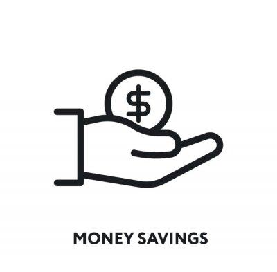 Money Savings. Investor Hand Holding Coin Dollar. Vector Flat Line Icon Illustration.