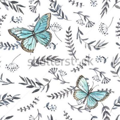 Naklejka Monochromatyczne akwarela kwiatowy bezszwowe z motylami. Ręczne malowanie. Akwarela. Jednolity wzór do tkanin, papieru i innych projektów drukarskich i internetowych.