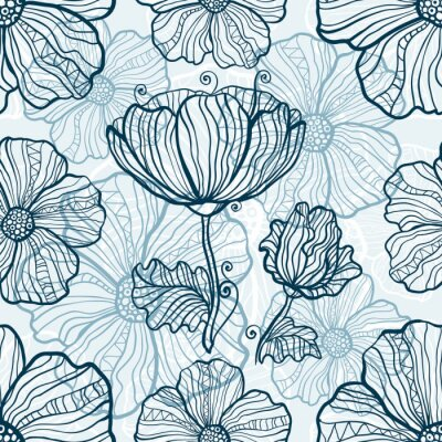 Naklejka Monochromatyczne kwiaty maku bez szwu