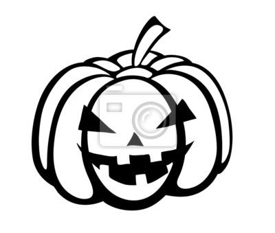 Monochromatyczny, czarno-biała sylwetka dyni na Halloween