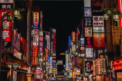 Naklejka Morze neonowych tablic reklamowych w Kabukicho Shinjuku Tokio w Japonii
