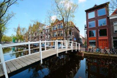 Naklejka Most na kanałach Delft, Holandia