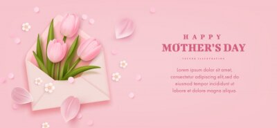Mother's day horizontal banner with realistic envelope, tulip flowers and petals on pink background. Vector illustration
