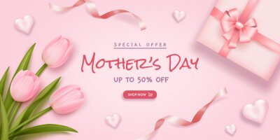 Mother's day poster or banner with realistic tulips, hearts, ribbons and gift box on pink background. Vector illustration