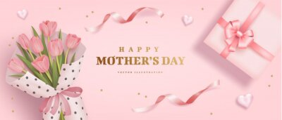 Mother's day poster or banner with sweet hearts, bouquet of tulips and pink gift box on pink background