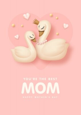 Mother's day poster with cartoon swan and sweet hearts on pink background. Vector illustration
