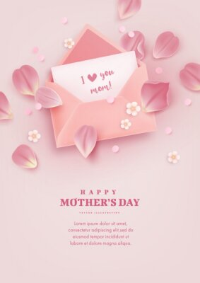 Mother's day poster with realistic flowers, tulip petals and envelope on pink background