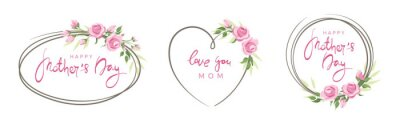 Naklejka Mothers Day cards. Pink roses, set frames. Vector illustration, frame, backgrounds with design element. Calligraphic lettering collection.