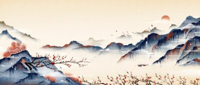 Naklejka Mountain peaks full of plum blossoms, ancient oriental paintings, and oriental classical paintings of Asia.Ink and wash landscape painting.