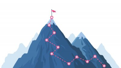 Naklejka Mountain progression path. Climbing progress route, mountain peak overcoming, mountain climbing path with red flag on top vector illustration. Way path infographic, progress way to peak