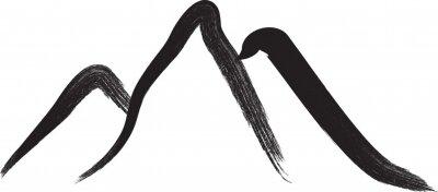 Naklejka Mountain silhouettes . Rocky peaks .  Splatter Paint Texture . Distress Grunge background . Scratch, Grain, Noise rectangle stamp . Black Spray Blot of Ink..abstract vector.