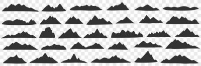 Naklejka Mountains range silhouettes doodle set. Collection of hand drawn various black silhouettes of natural hills mountains in rows isolated on transparent background