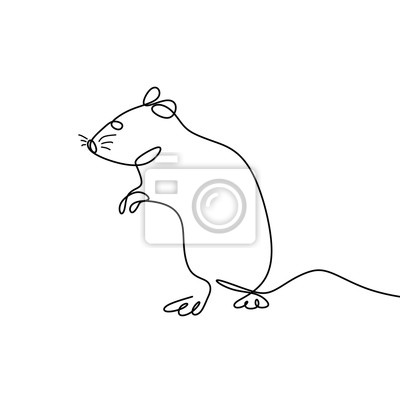 Mouse one line drawing hand drawn continuous style