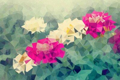 Naklejka Mozaika i niskiej wielokąta tła na tle kwiatów, ilustracji
