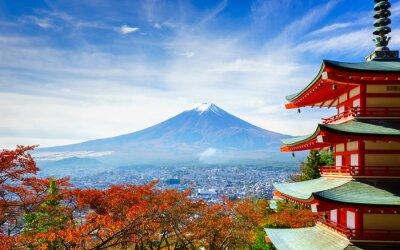 Naklejka Mt. Fuji Chureito Pagoda, Fujiyoshida, Japonia