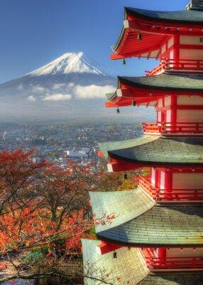 Naklejka Mt. Fuji i Autumn Leaves w Arakura Sengen Sanktuarium w Japonii