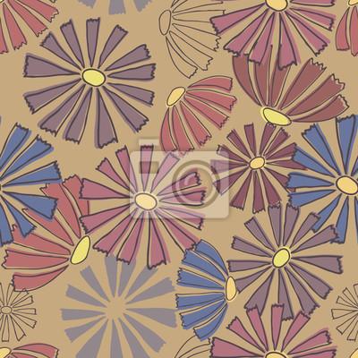 Multi-kolorowy kwiatowy wzór. Jednolite tło