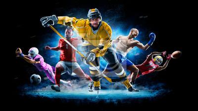 Naklejka Multi sport collage football boxing soccer ice hockey on black background