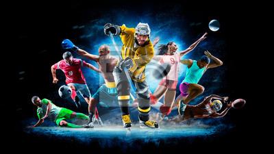 Naklejka Multi sport collage football boxing soccer voleyball ice hockey on black background