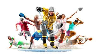 Naklejka Multi sport collage football boxing soccer voleyball ice hockey running on white background