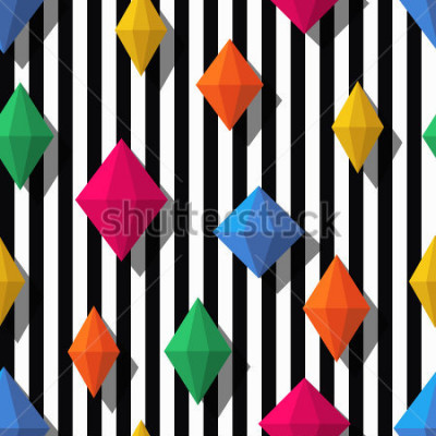 Naklejka Multicolor diamonds, gems on black white stripes, seamless pattern. 3d vector shapes. Abstract universal background. Design for fashion textile print, wrapping paper, web background, package.