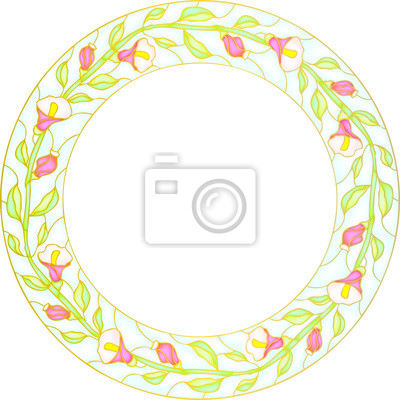 Naklejka Multicolor flowers in round stained-glass window frame, vector