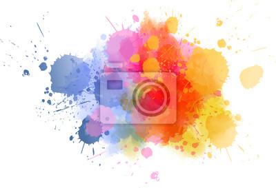 Naklejka Multicolored splash watercolor blot