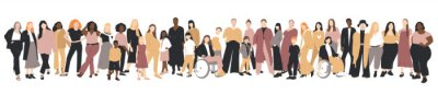 Multicultural group of mothers with kids. Flat vector illustration.