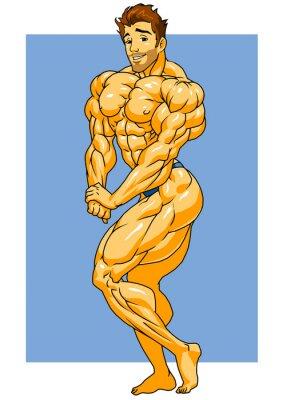 Naklejka muskularny stwarzające kulturysta, ilustracja, kolor, logo, odizolowane na białym