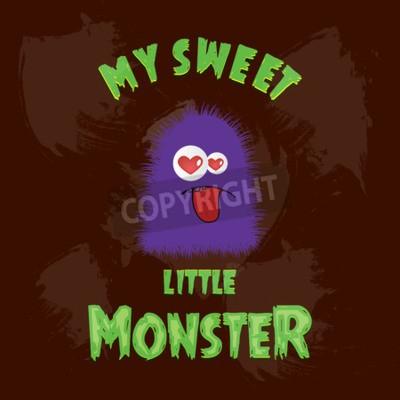 Naklejka My Sweet Little monster card design vector