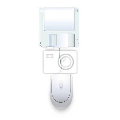 Mysz komputerowa połączona z dyskietki. Vector design,