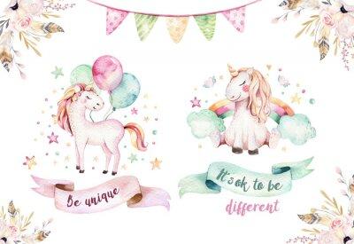 Naklejka Na białym tle ładny akwarela jednorożca clipart. Ilustracja jednorożce żłobek. Księżniczka tęczy jednorożce plakat. Modny różowy koń kreskówka.
