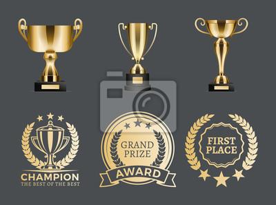 Naklejka Nagroda Champion Kolekcja ilustracji wektorowych
