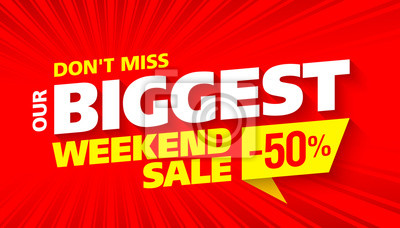 Naklejka Największy weekend sprzedaży jasny projekt banerów reklamowych
