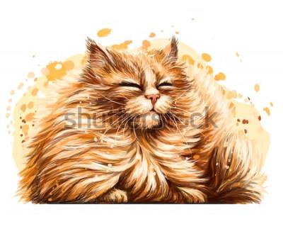 Naklejka Naklejka na ścianę. Kolor, grafika, artystyczny rysunek ślicznego puszystego kota mruży oczy na słońcu na białym tle z rozpylaczem akwareli.